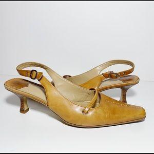 Nine West Tan Slingback Heels Shoes Pointed Toe